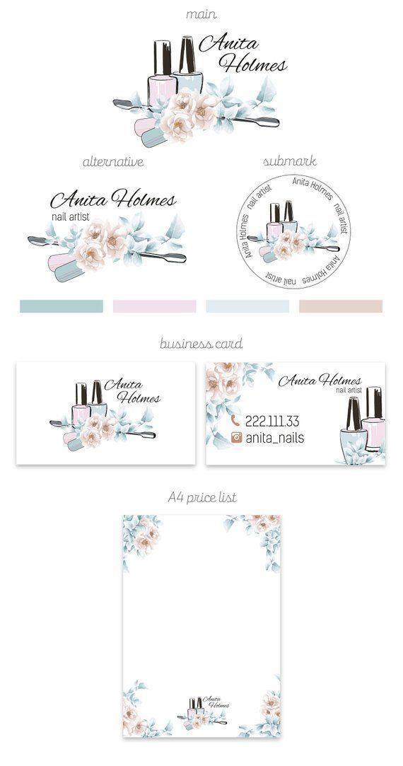 Nail Artist Branding Kit, Nail Salon Branding Package, Business Card ...