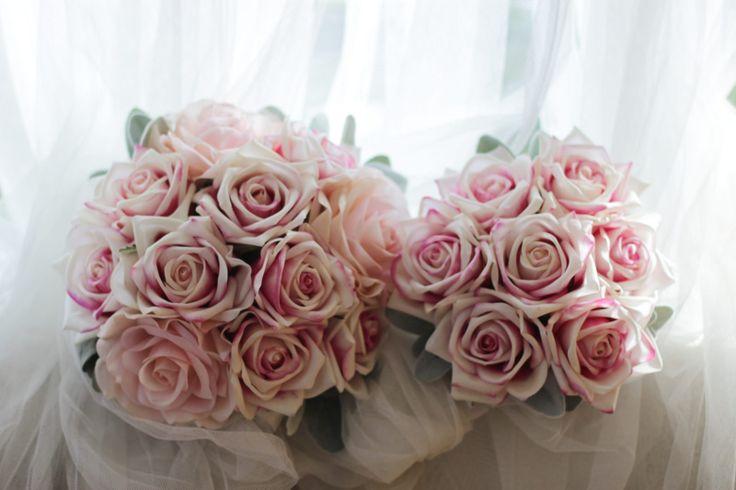 Erin's Bride and bridesmaid bouquets.  Karina pink ice and Klara bridal pink roses and lambs ear.