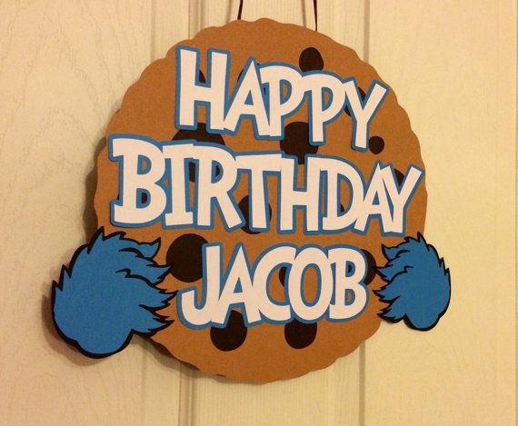 Sesame Street Cookie Monster Door Sign by BASHPartyCo on Etsy