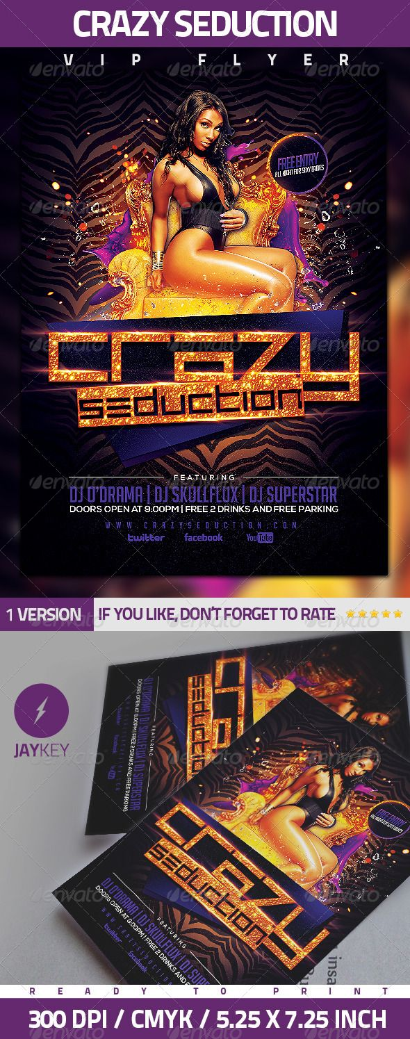 Crazy Seduction Party Flyer Text ColorParty FlyerPrint
