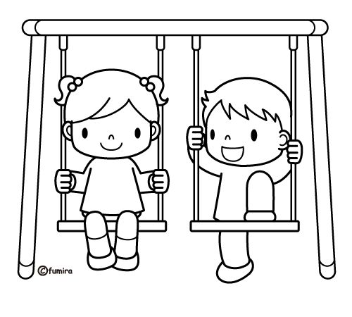 swing set coloring pages for kids