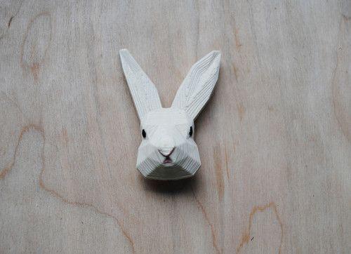 Zajko biely - brošňa z 3D tlačiarne
