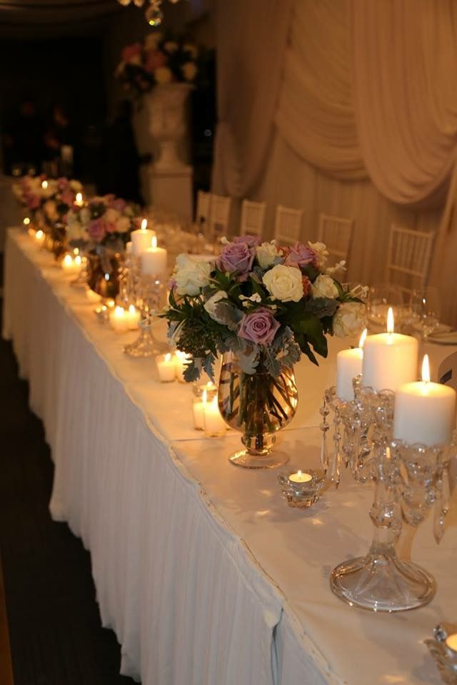 Our elegant bridal table, decorations by decorative events, flowers by Florid.
