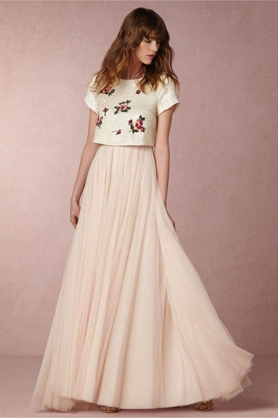 BHLDN Two Pieces Boho Wedding Dress / http://www.deerpearlflowers.com/two-piece-wedding-dresses/2/