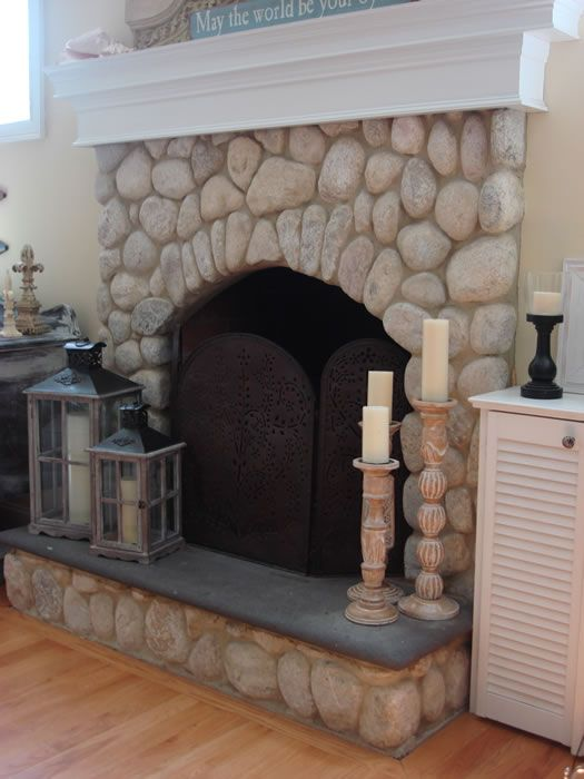 beach stone fireplace - Google Search