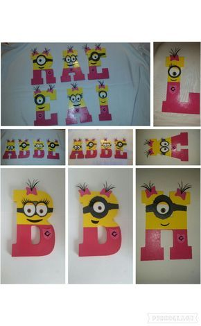 Despicable Me Wooden Minion Letters Numbers. Girl Minion Name Personalized for Minion Party! Painted wooden letters numbers. by VannessasCreations on Etsy