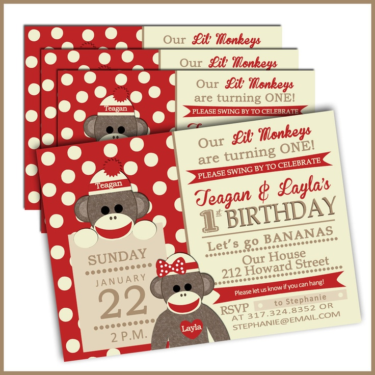 16 best lukes first birthday images on pinterest sock monkey twins sock monkey birthday invitations filmwisefo Image collections