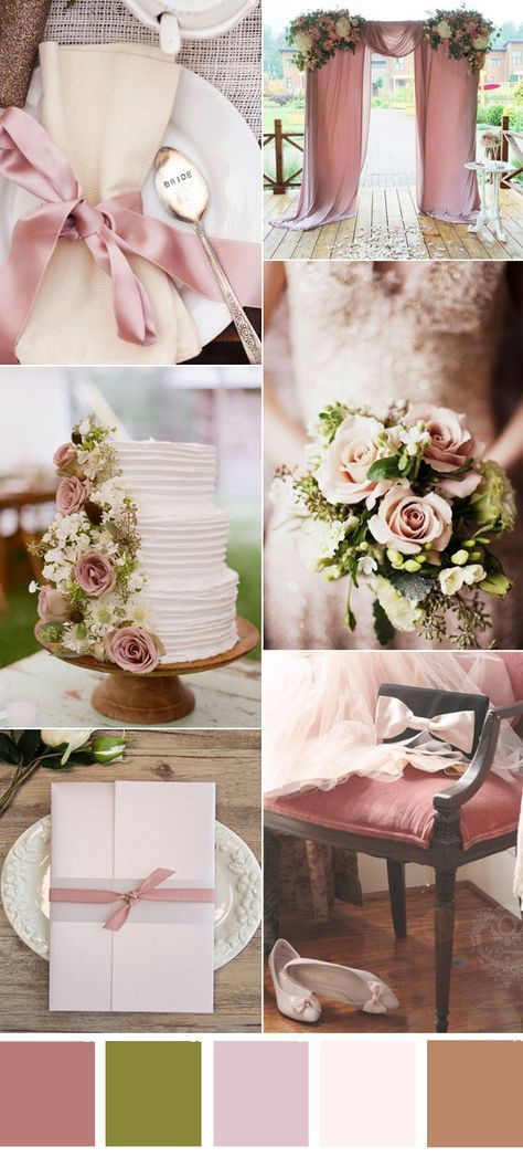 romatic dusty rose neutral wedding color ideas