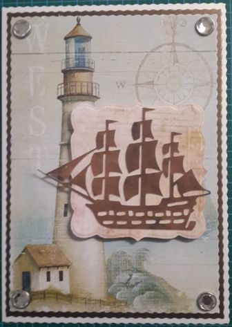 013_A5_3D_Galleon with Lighthouse background and Pearls.  Handmade by Diane Prinsloo (Lubbe).