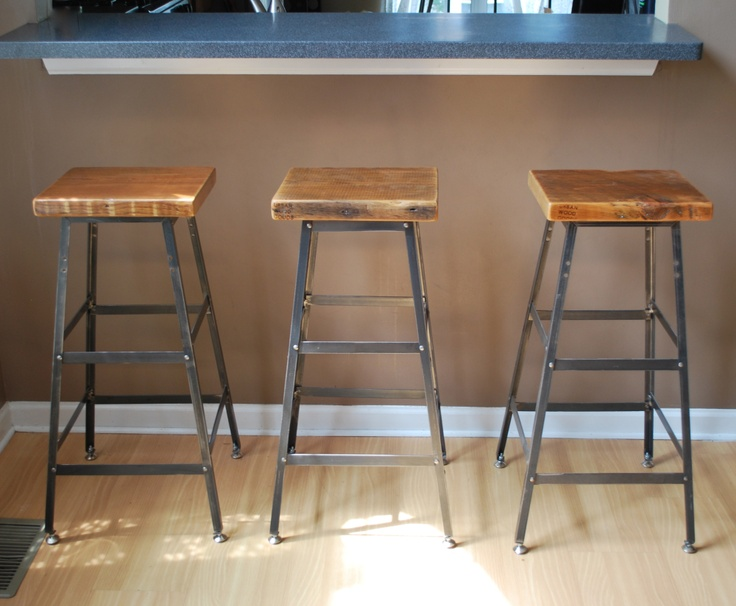 Items Similar To Reclaimed Wood And Steel Stool Made In Chicago One Bar Hieght On Etsy