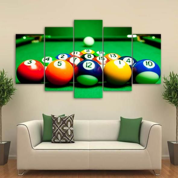 Pub Game Sport Colourful Wall Art Large Poster Canvas Pictures Pool Balls