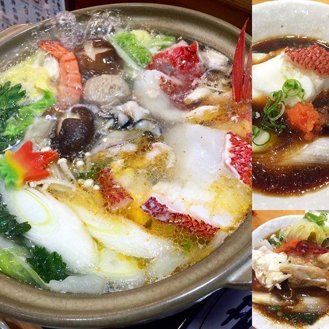 【ai645】さんのInstagramをピンしています。 《地魚の魚ちり鍋🍲✨🤗 . 温泉にきて食べるお鍋はまた格別ですね❤️ クエに似た、淡白で上品な白身ながら とても脂ののったお魚で ぷるぷるコラーゲンのアラの部分も たまらなく美味しかった❤️ いいお出汁でてました〜〜😋👍🏻✨ . いつもはこの時期、クエ鍋🍲✨なんですが 今回は、急にふらりと来て予約してなかったので 地魚の魚ちり鍋に! 地元で、「めんどり」✨って呼ばれている 金目鯛に似た白身のお魚と 「赤いクエ」と呼ばれている「つるクエ」 という、これまた赤いとても脂ののった おいしいお魚でした それに、牡蠣、イカ、海老、地鶏、つみれ など具沢山で大満足😊💕 これで一人前3800円はお得ですね! ↑最後はここ‼︎ 笑(^-^) . . #温泉 #温泉旅行 #グルメ #鍋 #魚ちり  #舟盛り #豪華すぎ #お腹いっぱい  #美味しい#yummy #delicious  #hotsprings #onsen #♨️ #海鮮 #海  #eat #seafood #fish #japanesefood…
