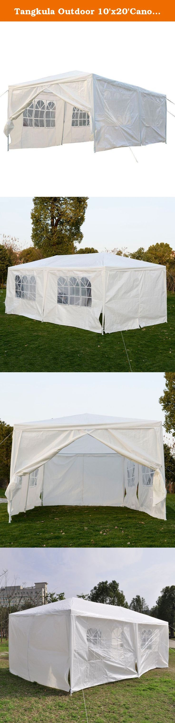 Tangkula Outdoor 10'x20'Canopy Party Wedding Tent Heavy duty Gazebo Pavilion Cater Events. Features: Brand New Durable Water Proof Polyethylene High quality, rust & corrosion resistant powder coated steel framework High strength joint fittings Easy and fast to set up suitable for all kinds of events All necessary Hardware is included Great for Commercial use / Parties / backyard events, etc Comes with Ropes and Stakes for added Stability Installation Manual Included.