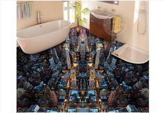 3d foto papel de parede personalizado 3d pintura piso piso luz Da Cidade papel de parede furar um chão fundo murais de parede 3d decoração do quarto