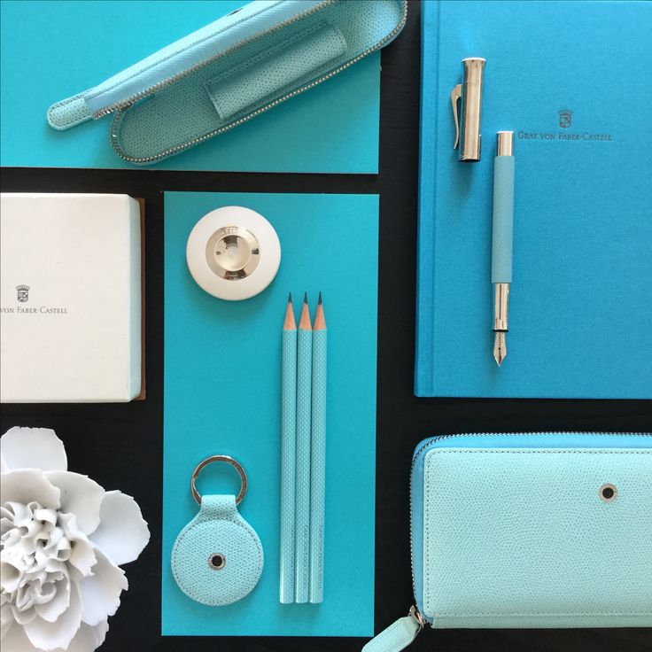 A mood board in shades of #turquoise. Find the perfect #gift for her, for him and for you, too! #gvfc #handwriting #writing #pencil #pencils #fountainpen #guilloche #guillocheturquoise #eraser #leather #leatheraccessories #epsom #keyfob #notebook #wallet #flower #madeingermany #handmadeingermany