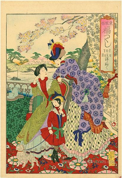 Print by Toyohara Chikanobu. He did a lot of Meiji era traditional Japanese prints, but also did many of Japanese women wearing Western-style Victorian fashion. I like the different use of fabrics and colors than what you typically see in European Victorian gowns.