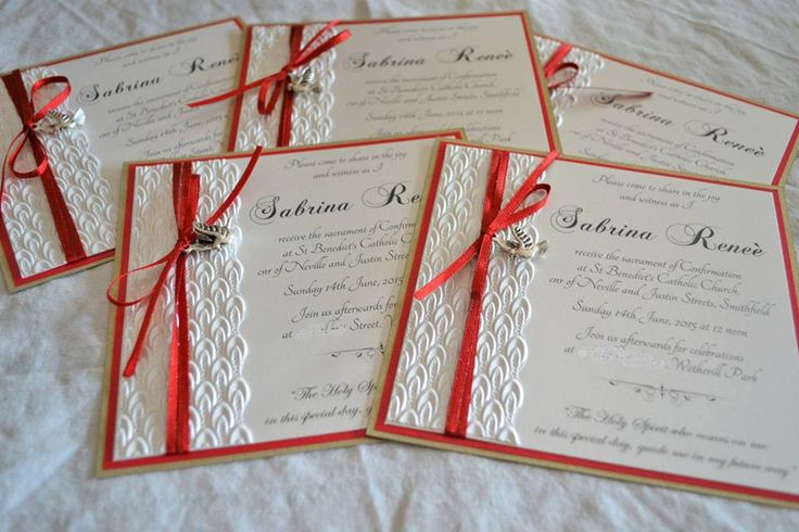 SABRINA - white open style invite with red detail, embossed paper and silver dove