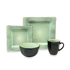 Squared Green 16-Piece Dinnerware Set - Bed Bath & Beyond EVERYDAY FLEISH? SQUARE BUT NOT AN OVERWHELMING PATTERN. THEY HAVE IT IN BLUE AS WELL.