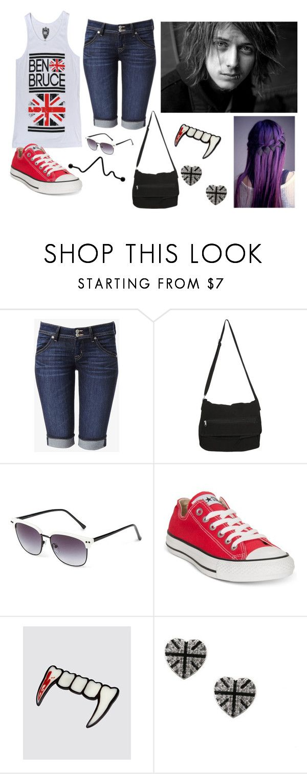 """Ben Bruce"" by rocketsheep ❤ liked on Polyvore featuring Hudson Jeans, Hot Topic, Converse and benbruce"