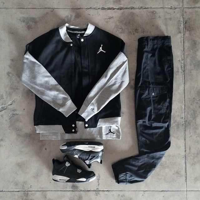 Jordan 4 'Tech Grey' Jordan Core Panel V-Neck Jordan Varsity Jacket Jordan