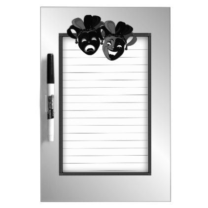 Comedy and Tragedy Theater Masks Silver Dry Erase Board - office ideas diy customize special