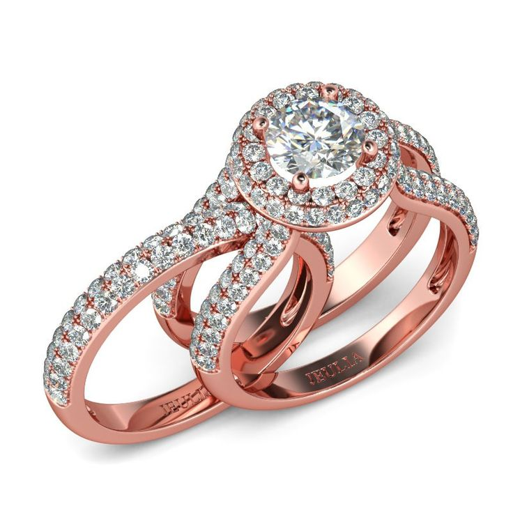 Elegant Stackable Halo Round Cut Created White Sapphire Rhodium Plated Sterling Silver Engagement Ring Bridal Set