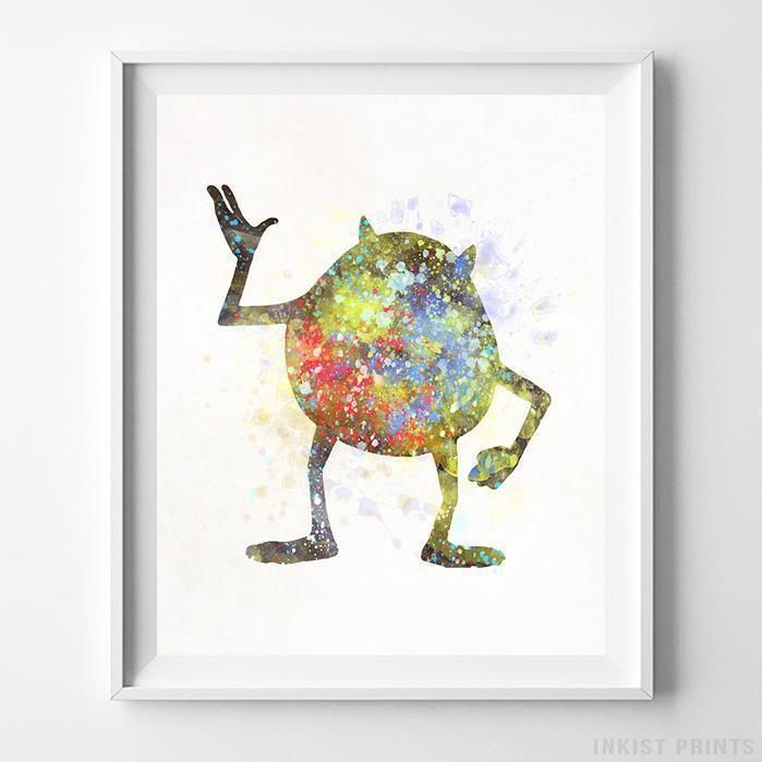 Mike Wazowski, Monster Inc Disney Watercolor Wall Art Print. Prices from $9.95. Available at InkistPrints.com - #disney #watercolor #giftidea #disneyart #wallart #MikeWazowski #MonsterInc