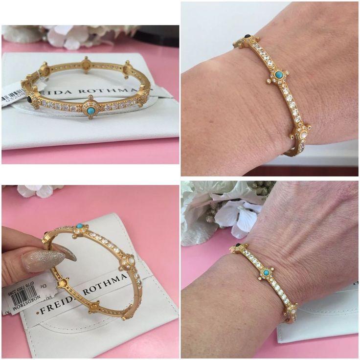 Freida Rothman gold bangle bracelet Baroque crystal hinge NWT Nordstrom #FreidaRothman #Bangle