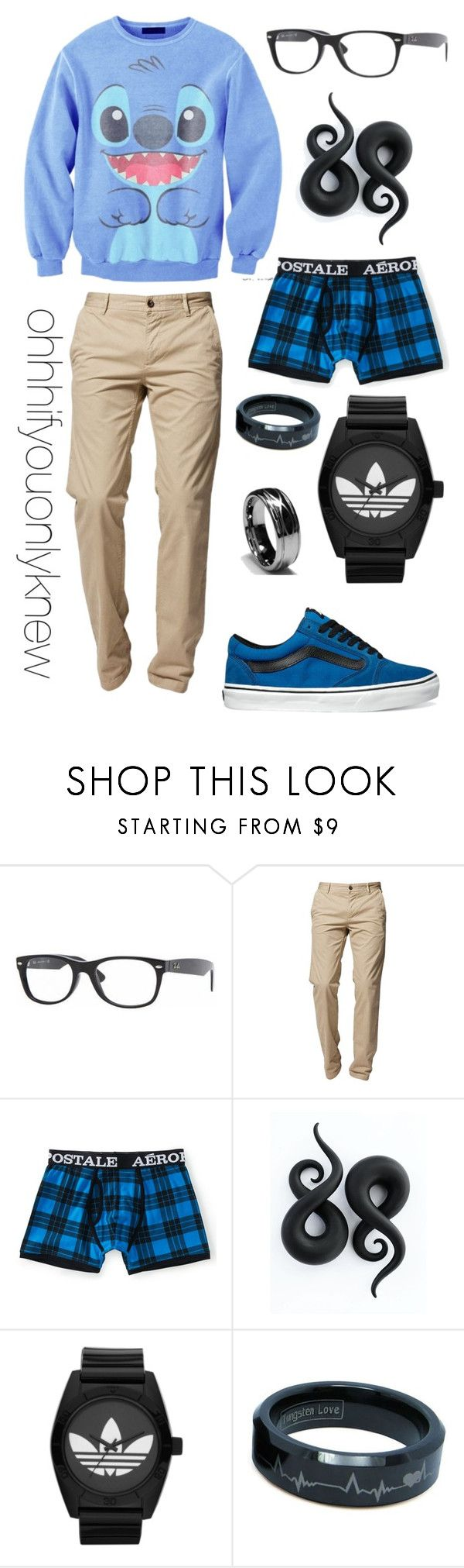 """Untitled #61"" by ohhhifyouonlyknew ❤ liked on Polyvore featuring Ray-Ban, BOSS Orange, Aéropostale, Vans, adidas Originals, casual, my creations, my style, comfy and disney"