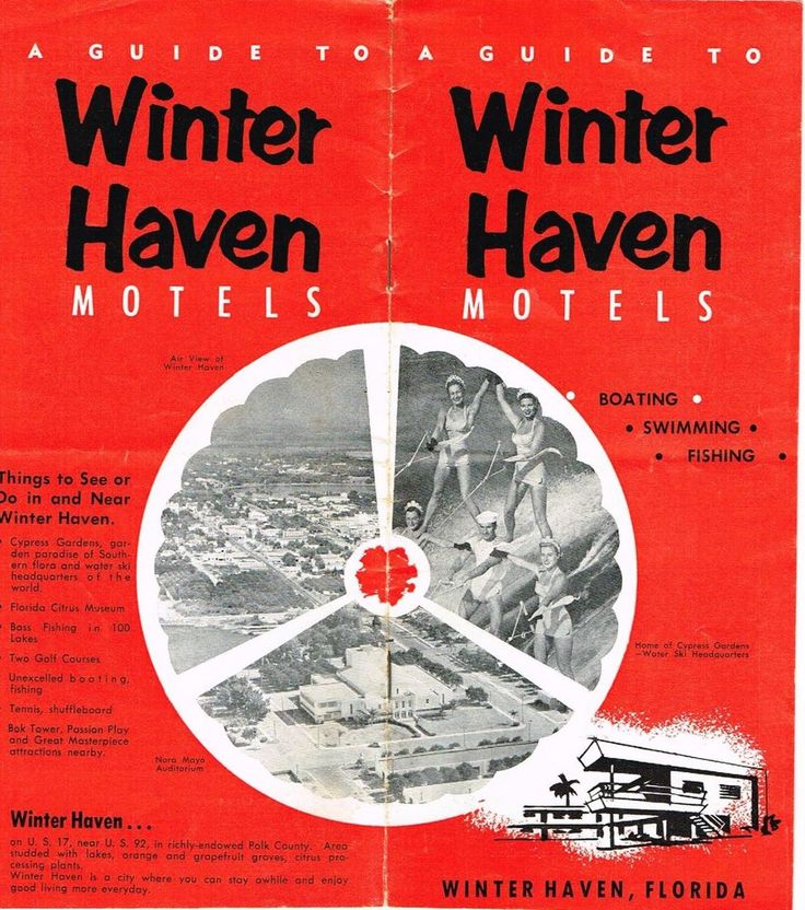 Vintage Florida Travel Brochure Winterhaven  Polk County Motels Cypress Gardens #Vintage