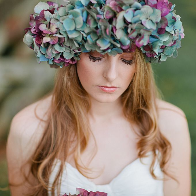 Brides: The Prettiest Wedding Hairstyles with Flower Crowns  A Bold, Blue, and Purple Hydrangea Flower Crown  Photo by Jill Andrews