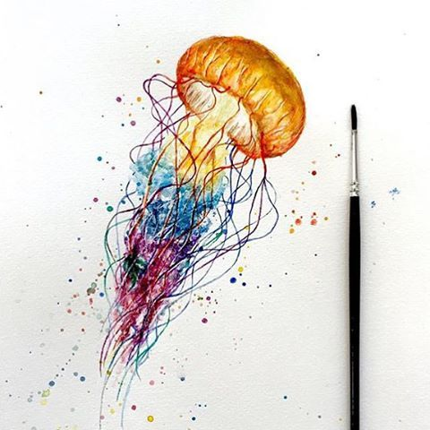 Jellyfish by @ninarting  Follow @artsogram for more cool art!