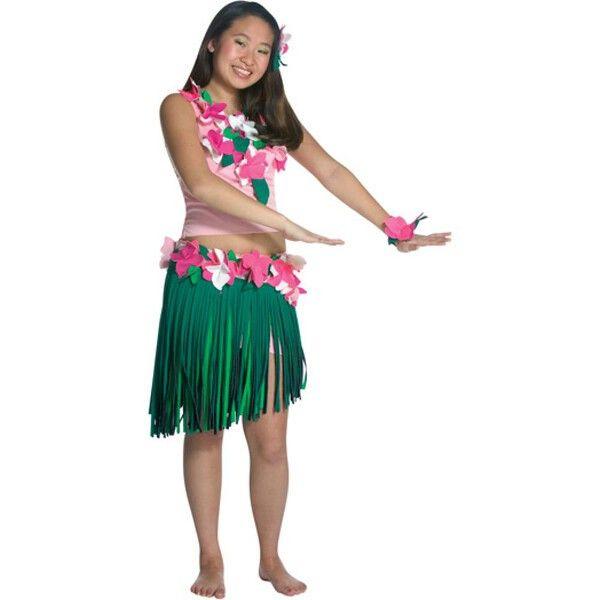 Teen hula girl costume. - Top - Skirt - Flower bracelet - SKU: CA-009369                                                                                                                                                                                 More