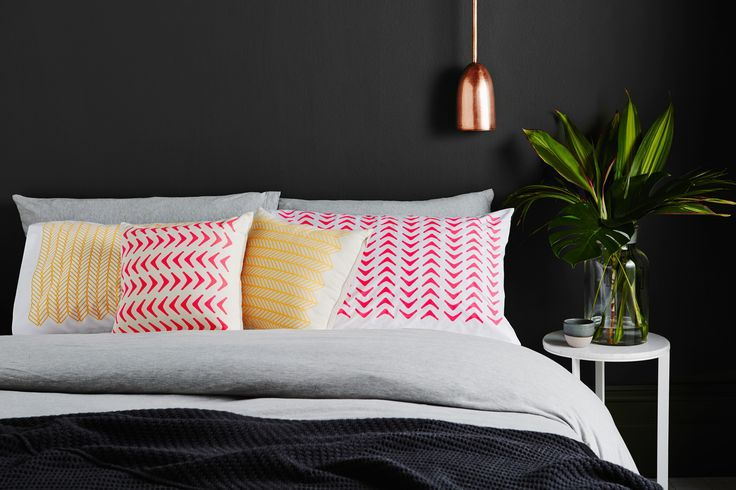 Aztec and Cable neon cushions and pillowcases.  Screen-printed by hand. Geometric design by Sly. Shot by Annette O'brien.