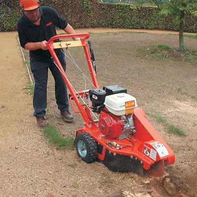 Hire a Tree Stump Grinder / Chipper. Call 0844 892 2503. It eliminates the need for chemicals and burning. Tree Stump Grinders / Tree Stump Chippers take away the need to dig, with this heavy duty tough petrol engine grinder. The tough blades will remove tree stumps safely and easily to 1 inch below ground surface, fitted with chip deflectors and safety handle.