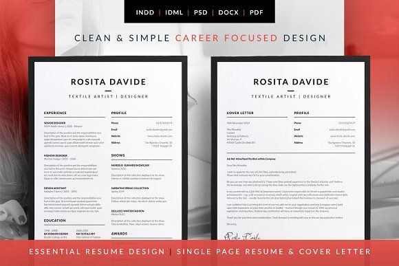 Essential Resume - Rosita by bilmaw creative on @creativemarket