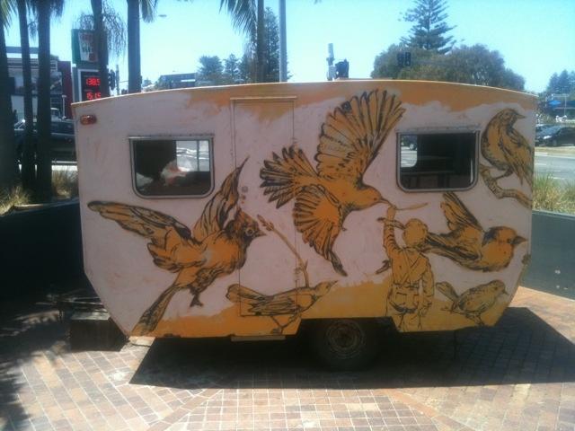 classic vintage ply caravan painted by david bromley in 2012. $25000