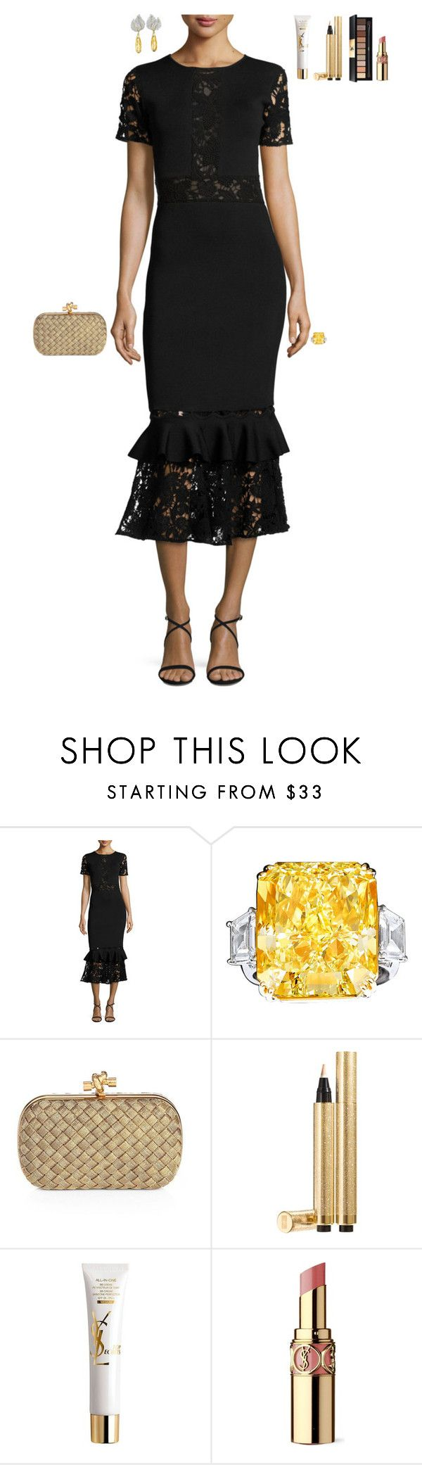 """""""Opening Night at the Theater"""" by stylev ❤ liked on Polyvore featuring NOIR Sachin + Babi, Bottega Veneta and Yves Saint Laurent"""