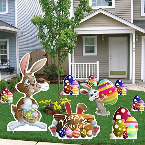 Easter Yard Decoration   Easter Bunnies, Egg Piles, Happy Easter Sign (18  Stakes
