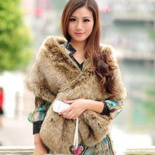 Hot Koop Fabriek groothandel nep wasbeer bont sjaal cape sjaal mode faux fur wrap imitatie vrouwelijke winter bruiloft bruid kraag(China)