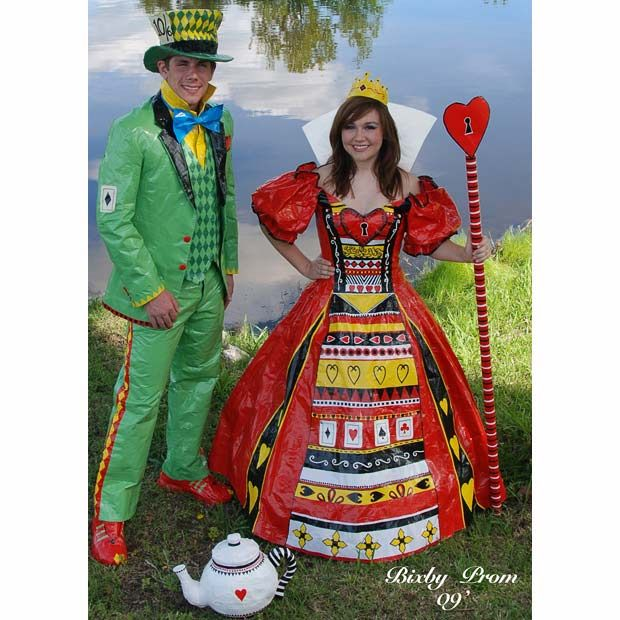 duct tape costumes, alice in wonderland themed