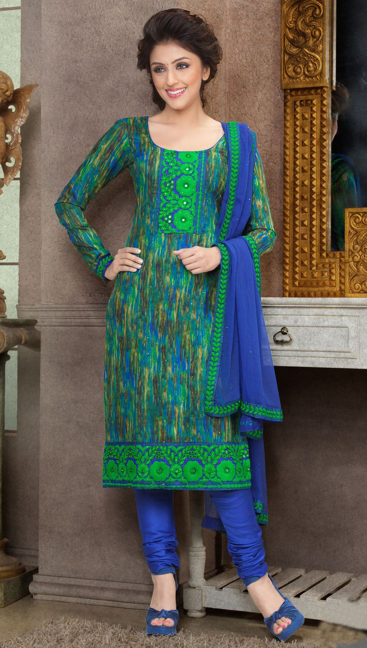 Aarti Chhabria Green & Blue Cotton Dress Material
