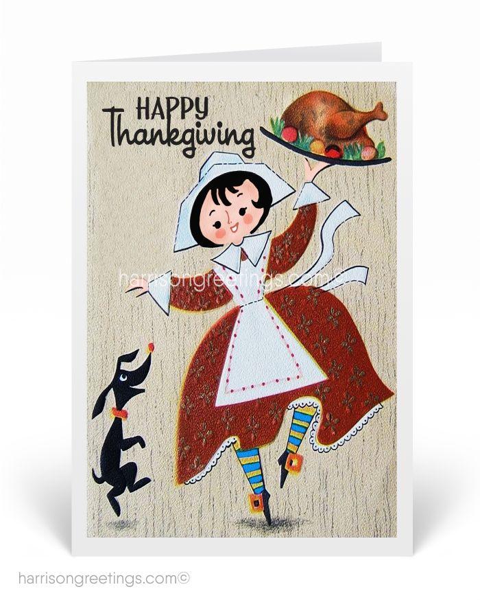 1950s Vintage Thanksgiving Greeting Cards, vintage Thanksgiving cards, 50s vintage Thanksgiving, retro Thanksgiving greetings, printed Thanksgiving cards for business