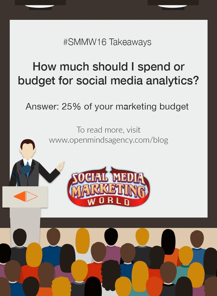 10 Social Media Marketing Questions Answered by Experts: SMMW16 Takeaways Question #7: How much should I spend or budget for social media analytics? Answer: 25% of your marketing budget To read more, [Click on Image] #omagency #smmw16 #socialmedia #marketing