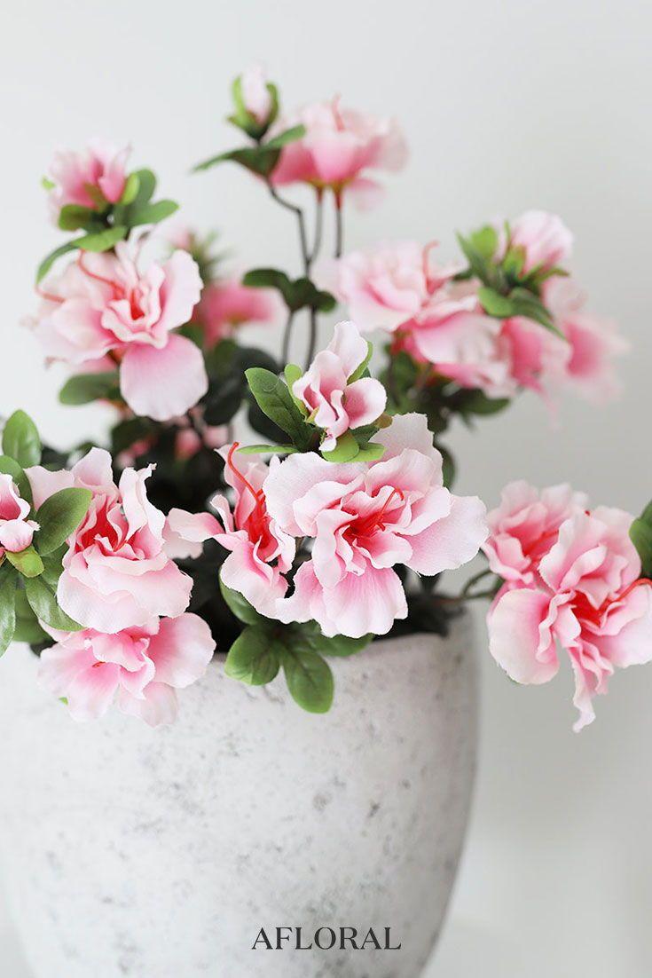 Silk Azalea Bush In Pink 16 Tall Artificial Flowers And Plants Azalea Bush Pink Azaleas