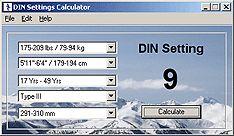 DIN Nastavení Kalkulačka