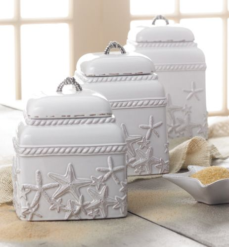Bring the beauty of the sea to the tabletop with serving and gift selections from our Classic Shell collection by Mud Pie.  This 3 piece set includes ceramic canisters with gaskets, starfish relief and cast metal rope knobs. Great for storing flour and sugars in the kitchen or potpourri in the bathroom. Add a tasteful hint of seaside style to any home…whether it's beachside or not!
