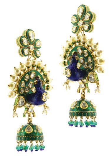 Sunita Shekhawat's three-demensional peacock earrings studded with polki pearls and enamel