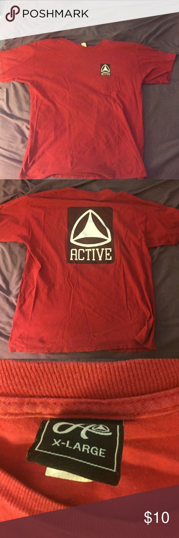 Active Ride Shop Red T-Shirt Small logo on pocket on the front, same symbol covering the entire back. Worn just a few times, in good condition Shirts Tees - Short Sleeve
