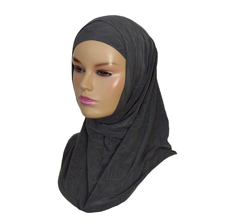 2 piece textured amira hijab - grey - Hijab Now